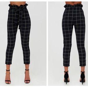 Black tweed check paperbag skinny pants